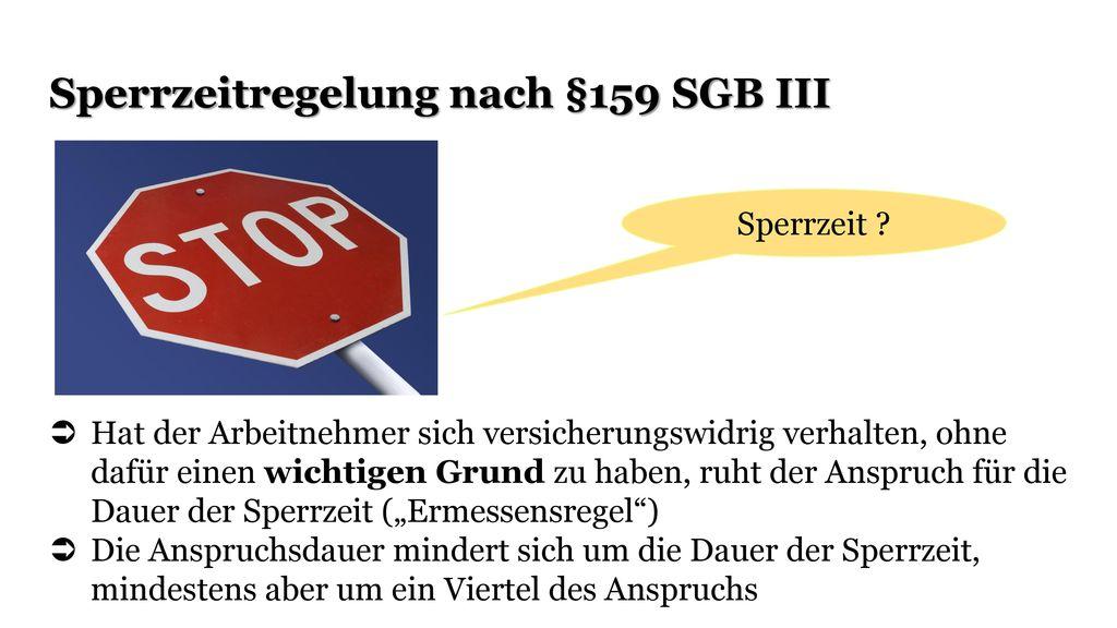 Sperrzeitregelung nach §159 SGB III