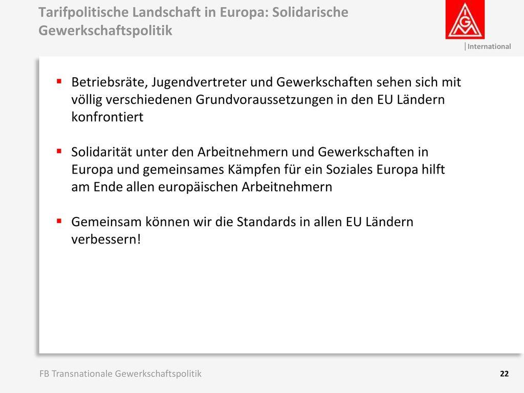 Tarifpolitische Landschaft in Europa: Solidarische Gewerkschaftspolitik