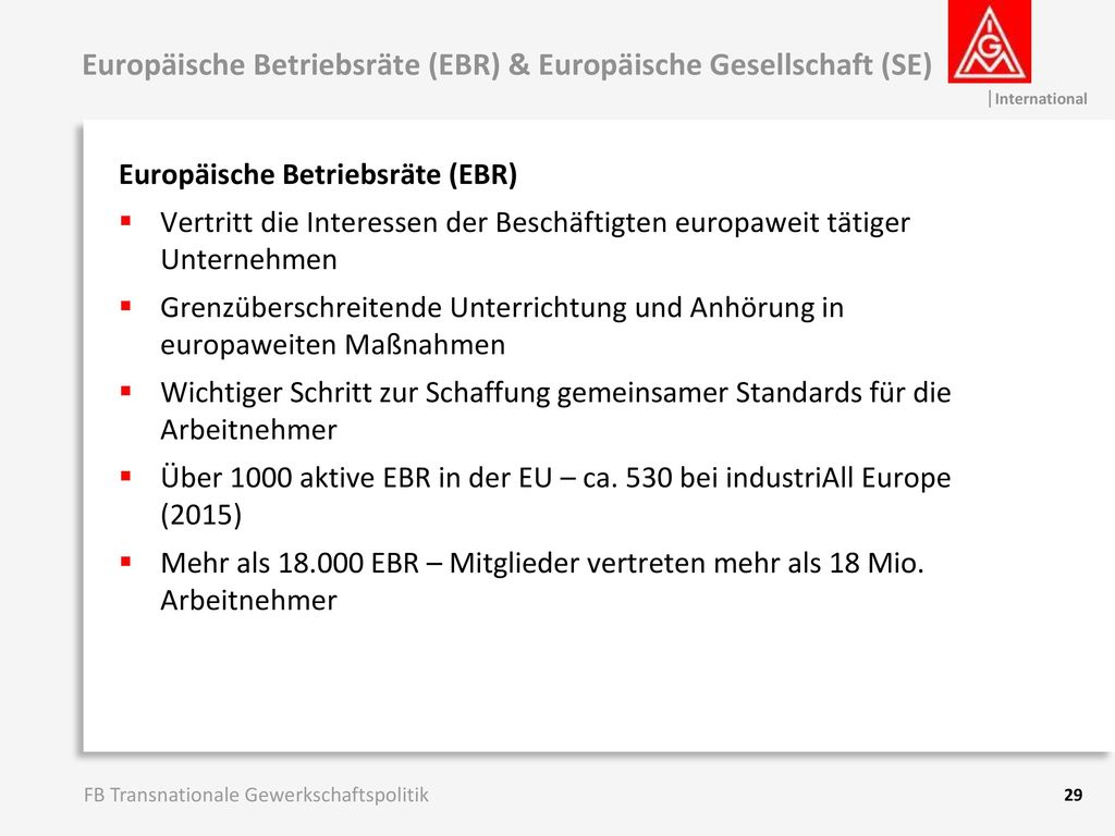 Europäische Betriebsräte (EBR) & Europäische Gesellschaft (SE)