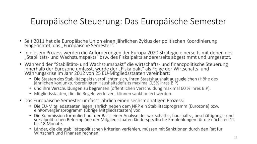Europäische Steuerung: Das Europäische Semester