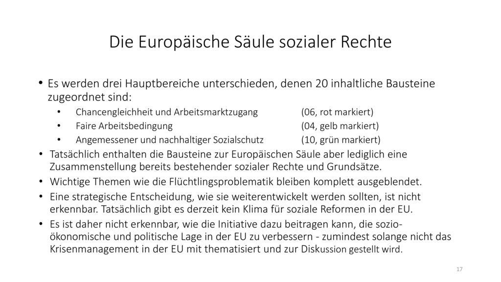 Die Europäische Säule sozialer Rechte