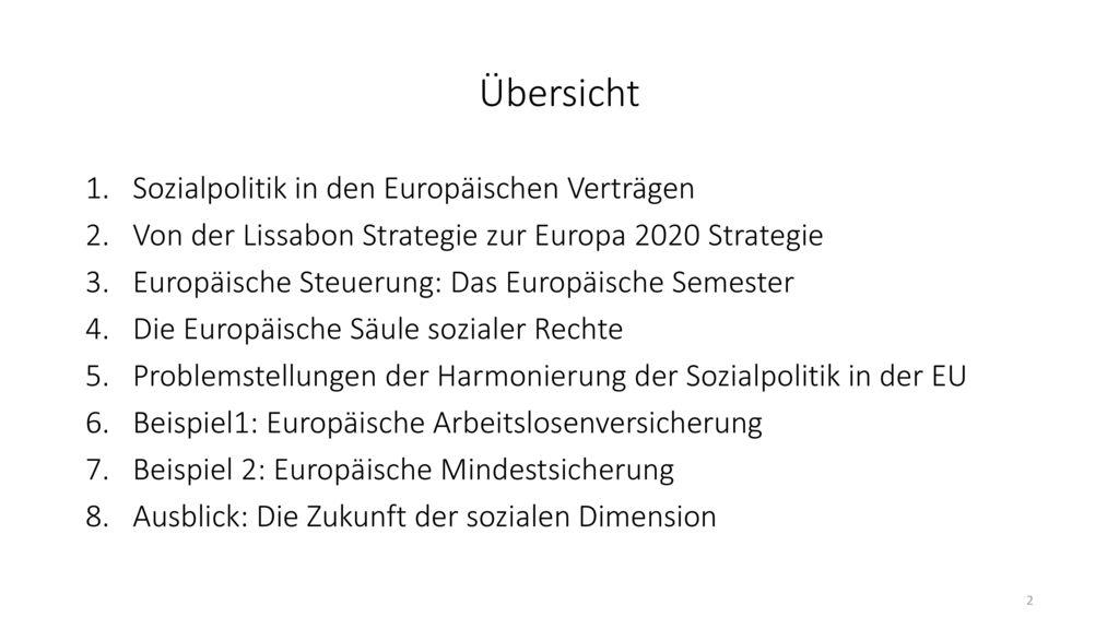 Übersicht Sozialpolitik in den Europäischen Verträgen