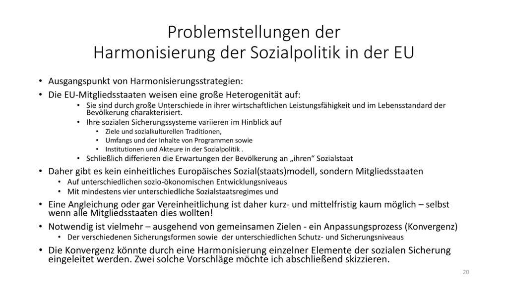 Problemstellungen der Harmonisierung der Sozialpolitik in der EU