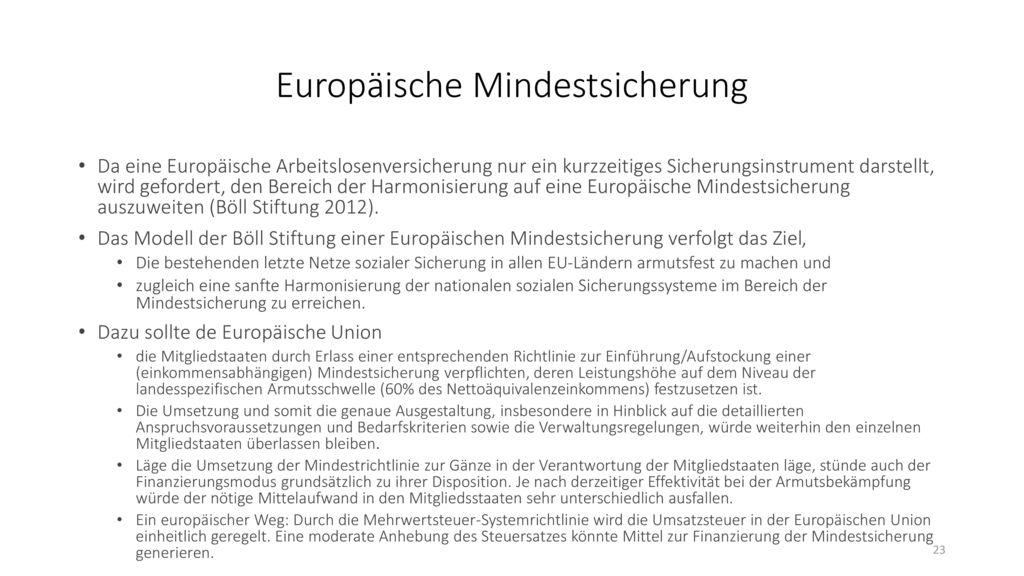 Europäische Mindestsicherung