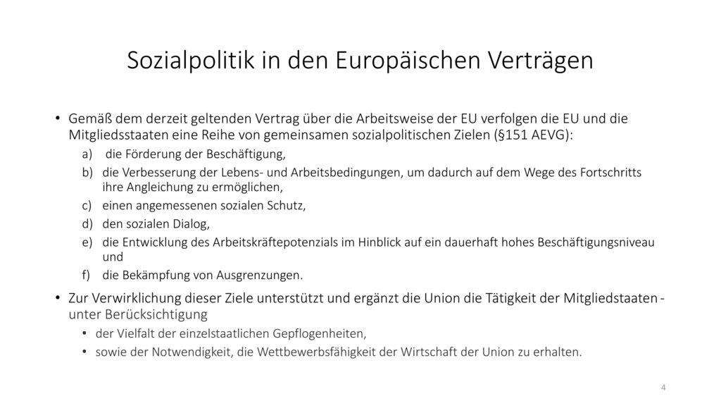 Sozialpolitik in den Europäischen Verträgen