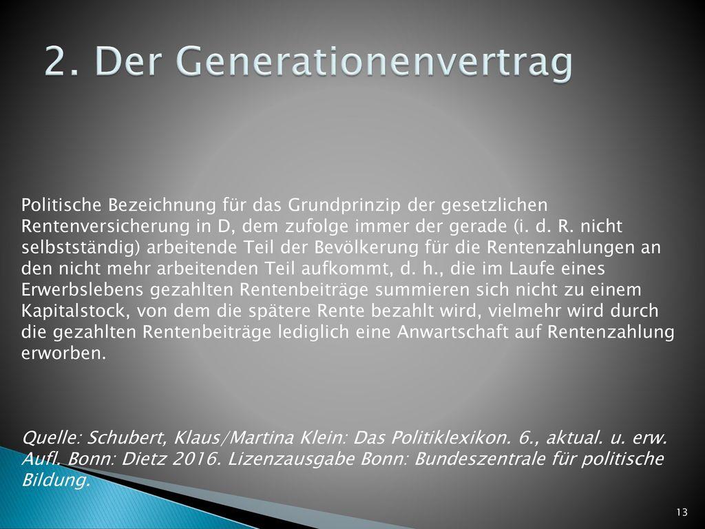 2. Der Generationenvertrag