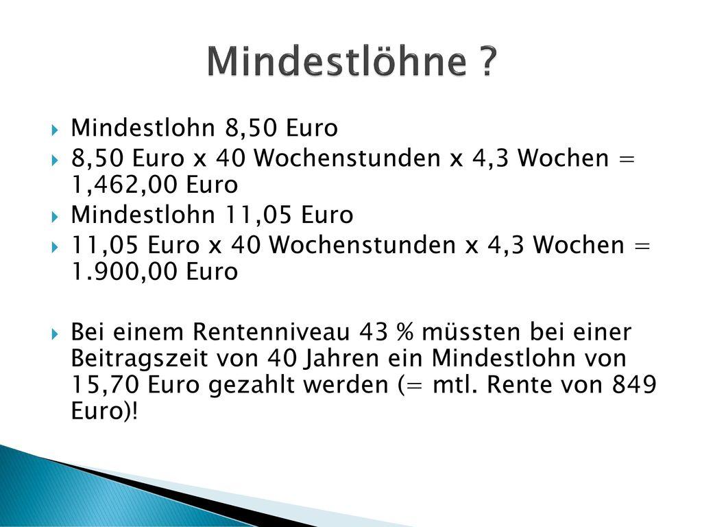 Mindestlöhne Mindestlohn 8,50 Euro