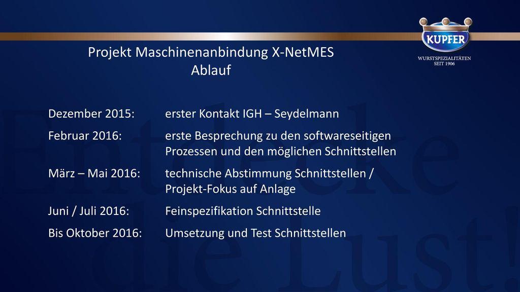 Projekthistorie in Meilensteinen