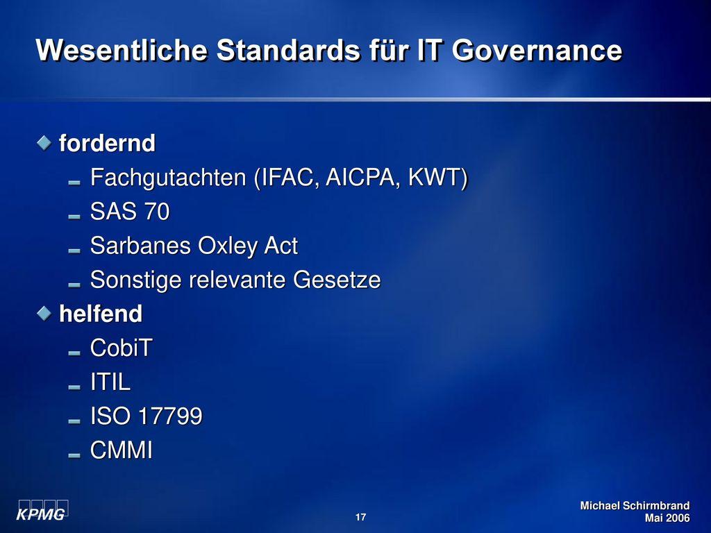 Wesentliche Standards für IT Governance