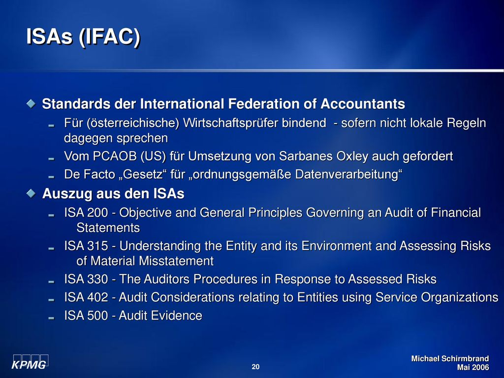 ISAs (IFAC) Standards der International Federation of Accountants