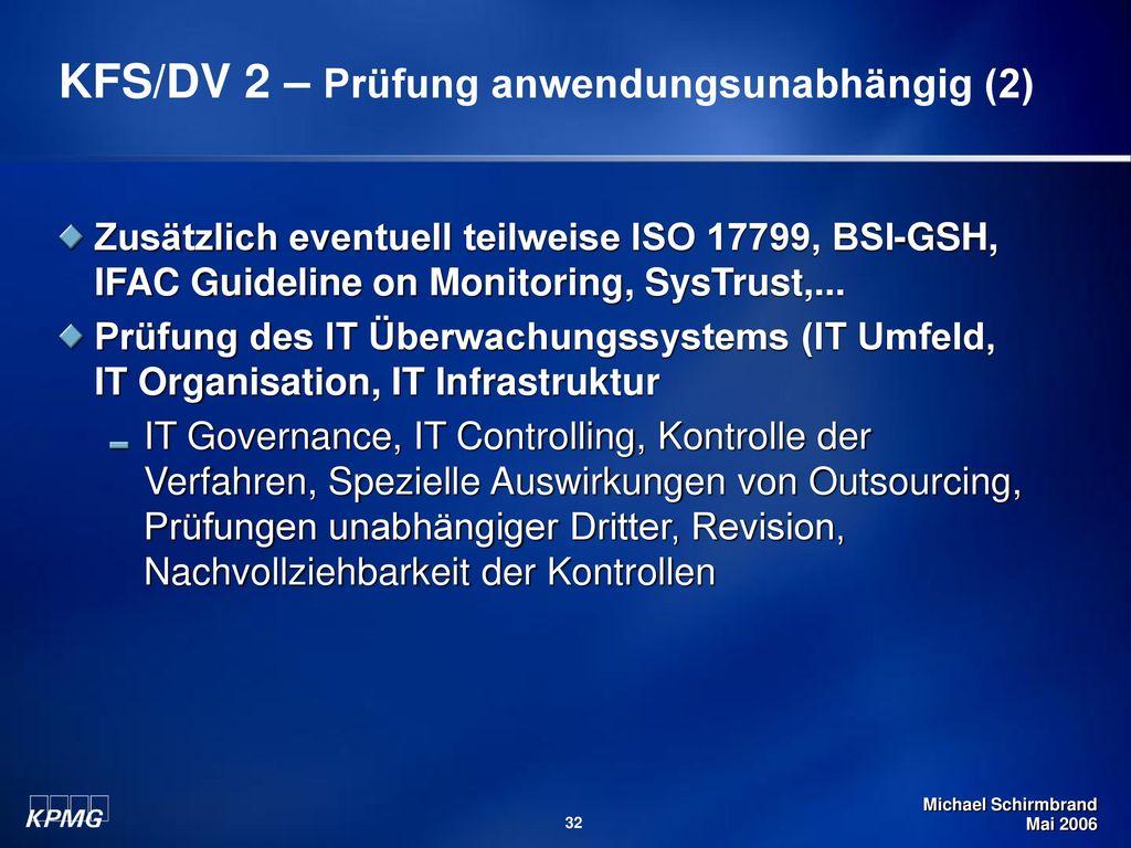 KFS/DV 2 – Prüfung anwendungsunabhängig (2)