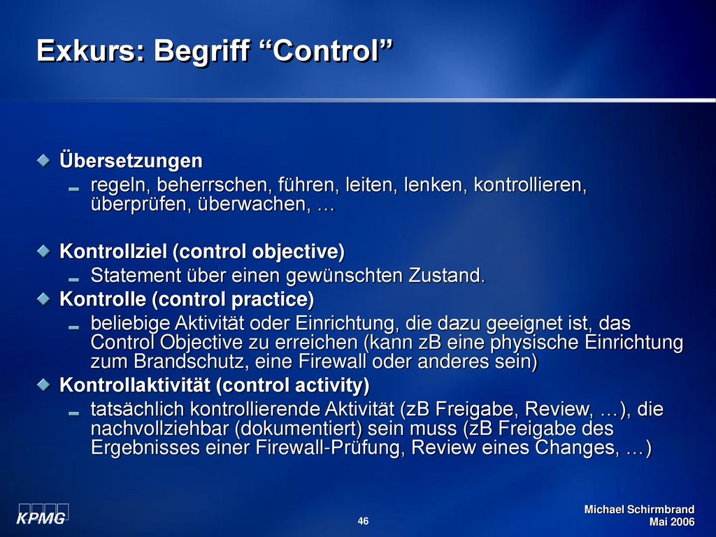Exkurs: Begriff Control