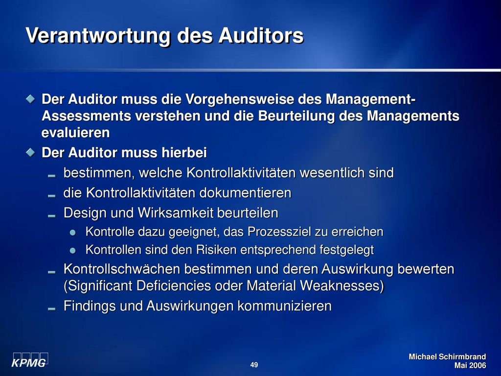 Verantwortung des Auditors