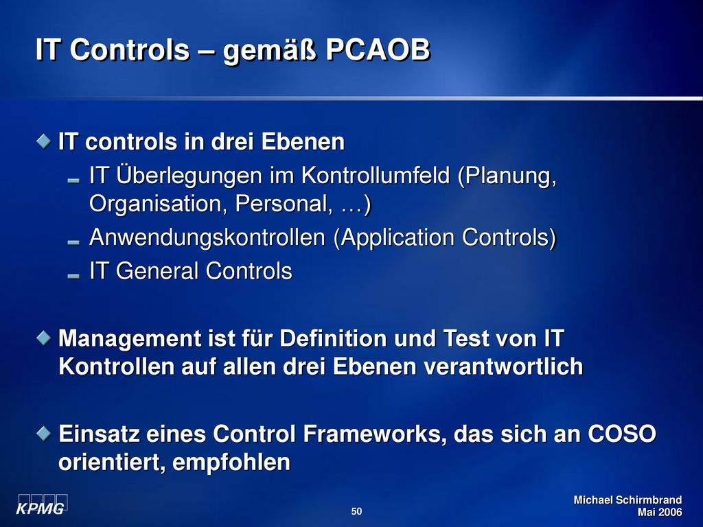 IT Controls – gemäß PCAOB
