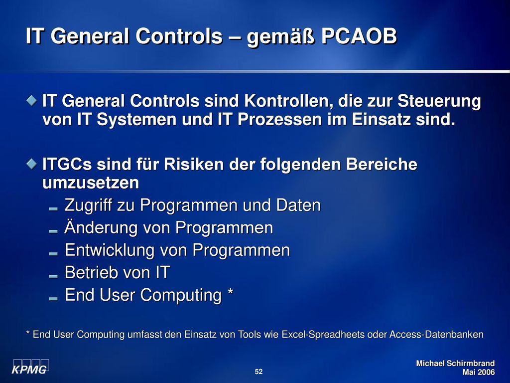IT General Controls – gemäß PCAOB