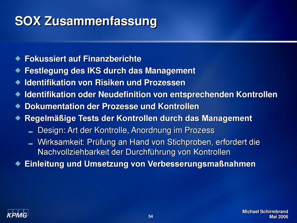 SOX Zusammenfassung Fokussiert auf Finanzberichte