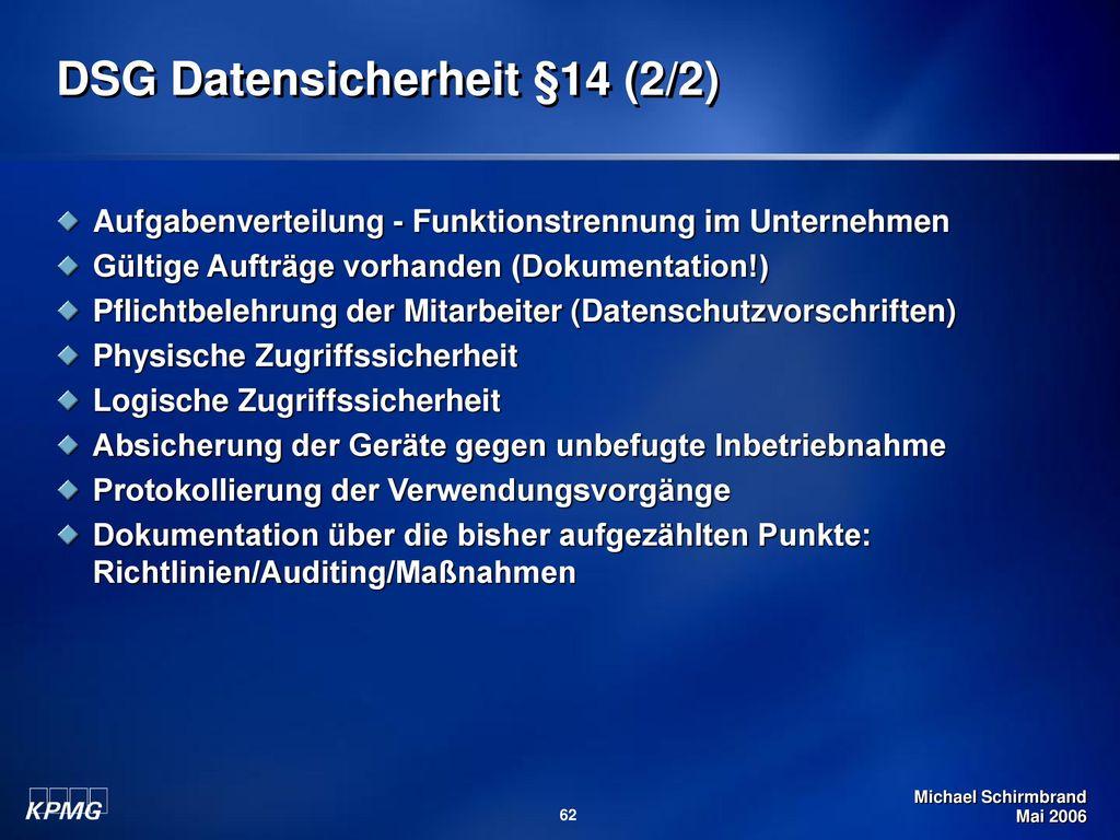 DSG Datensicherheit §14 (2/2)
