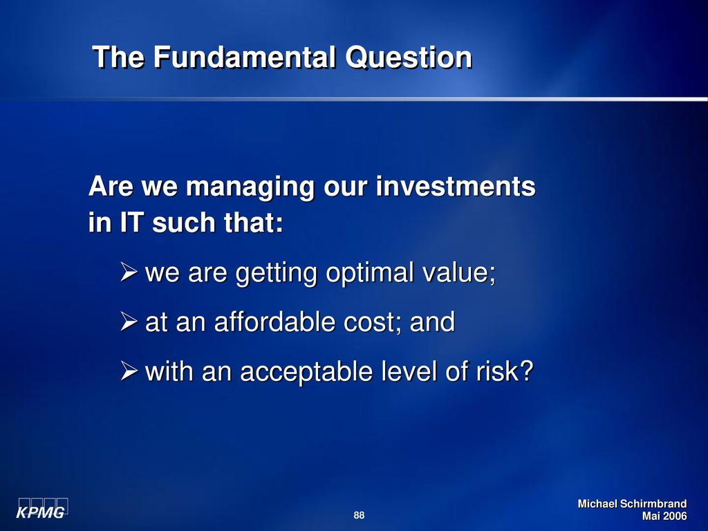 The Fundamental Question