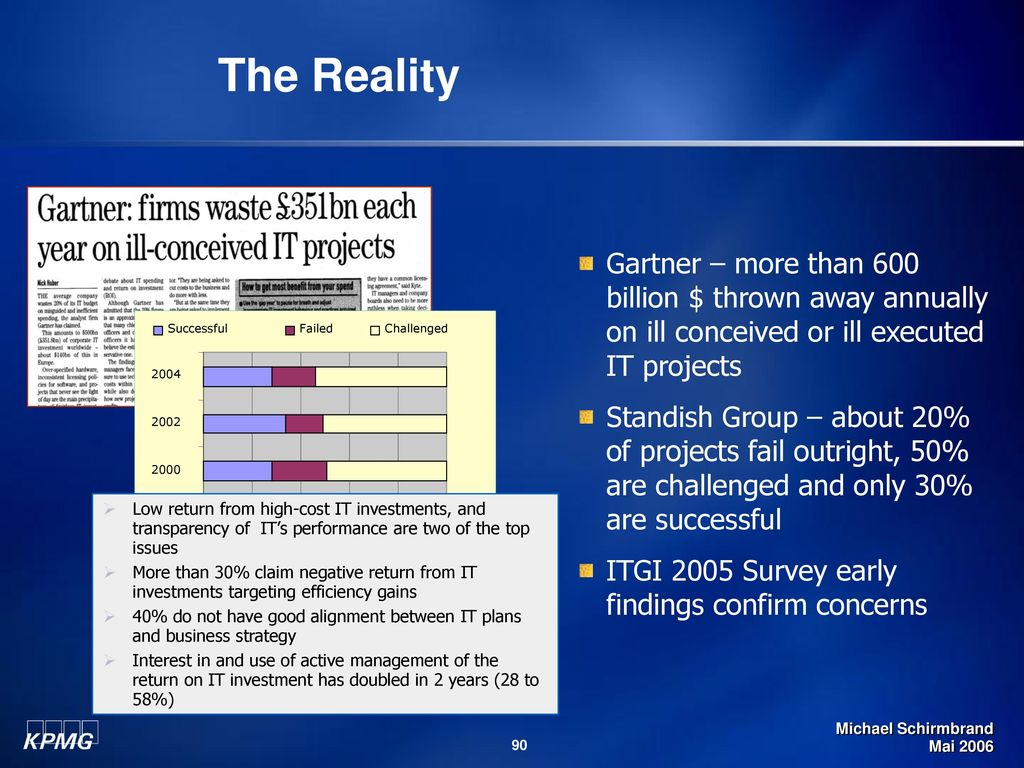 The Reality Gartner – more than 600 billion $ thrown away annually on ill conceived or ill executed IT projects.