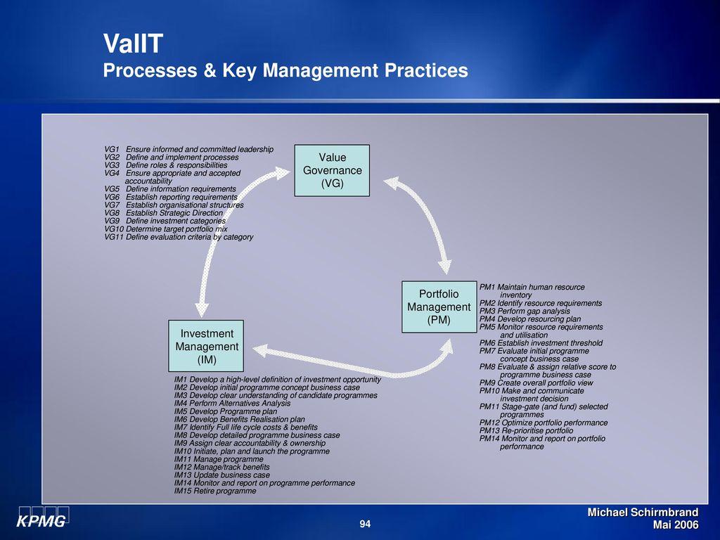 ValIT Processes & Key Management Practices