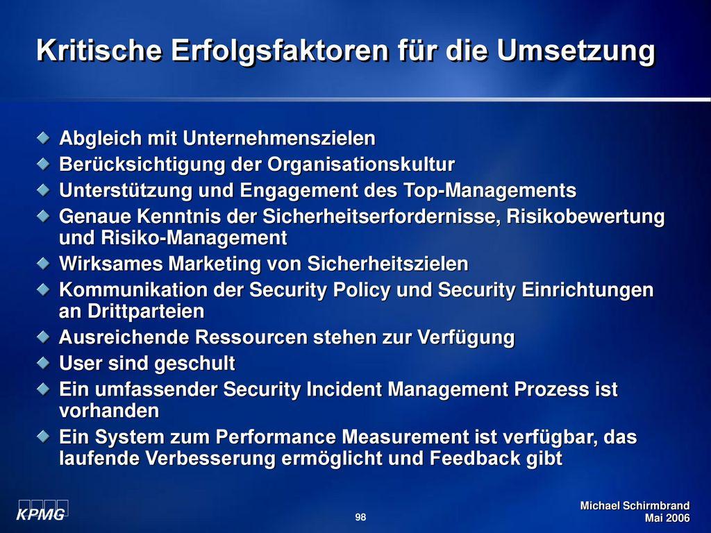 Kritische Erfolgsfaktoren für die Umsetzung