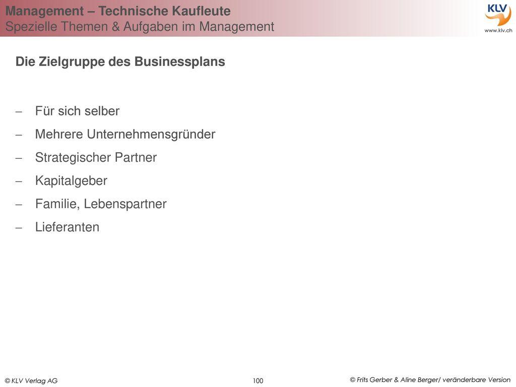 Die Zielgruppe des Businessplans