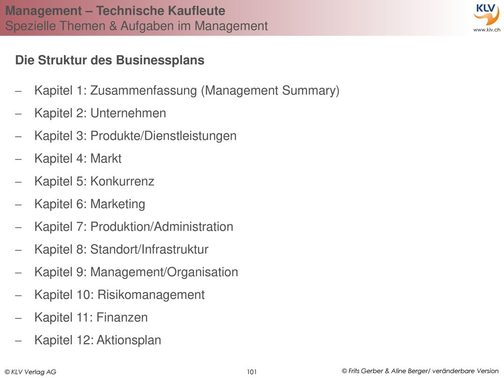 Die Struktur des Businessplans