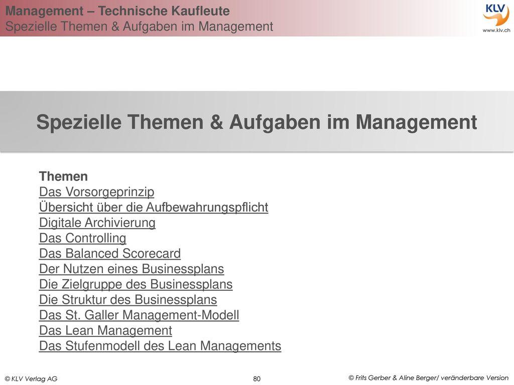 Spezielle Themen & Aufgaben im Management