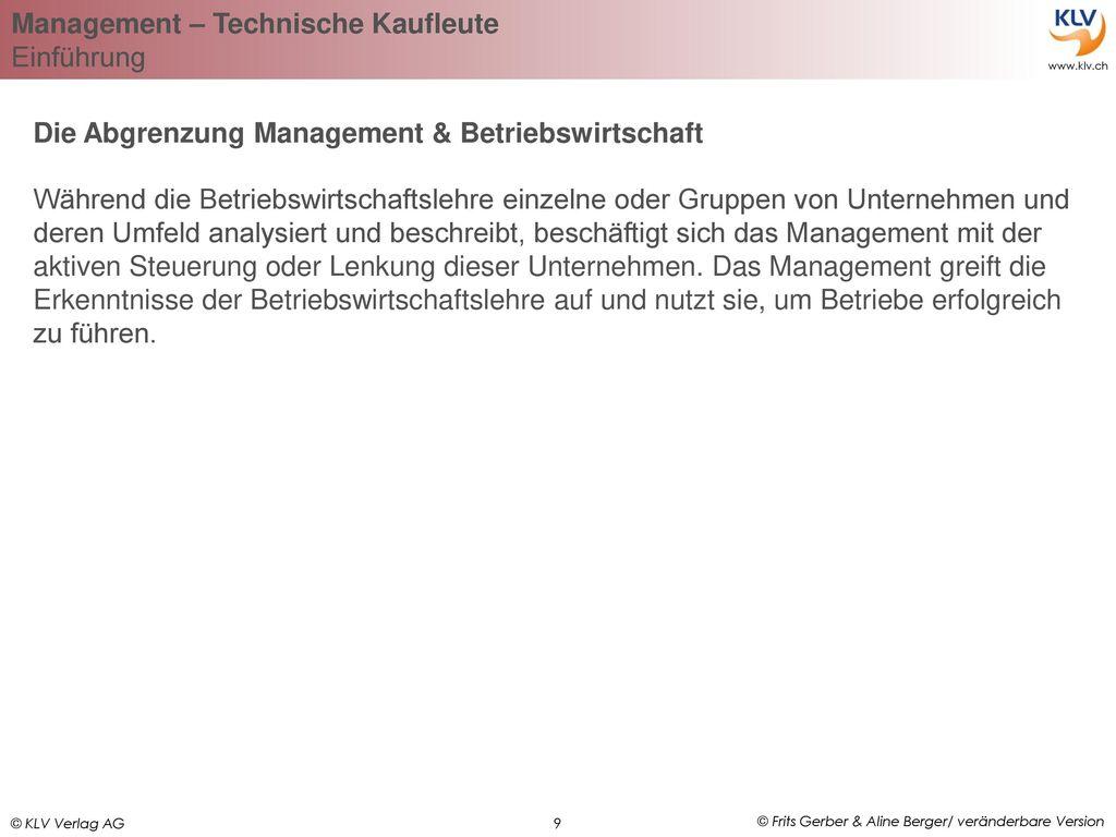 Die Abgrenzung Management & Betriebswirtschaft
