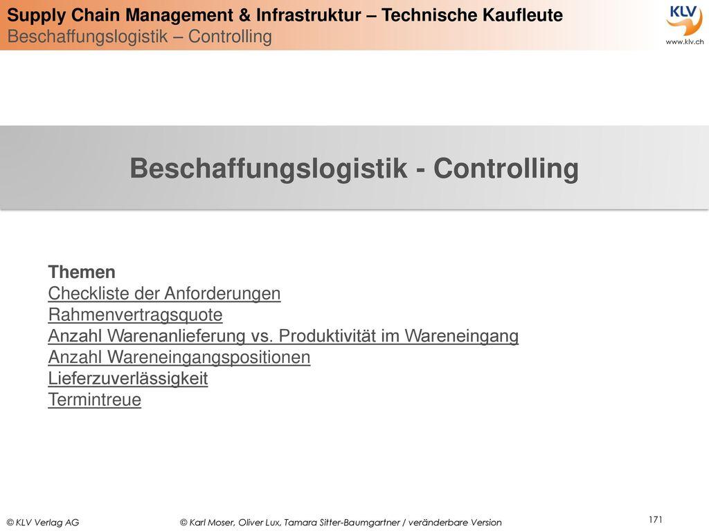 Beschaffungslogistik - Controlling