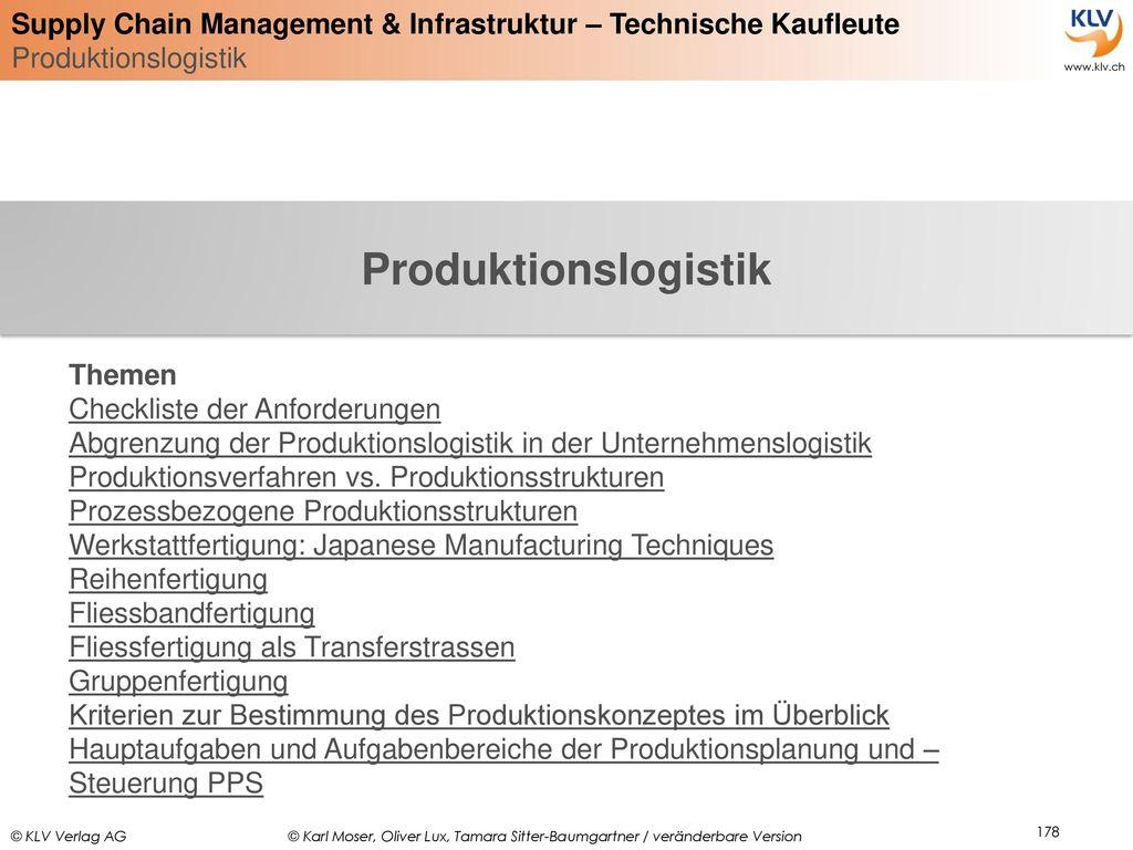 Produktionslogistik Themen Checkliste der Anforderungen