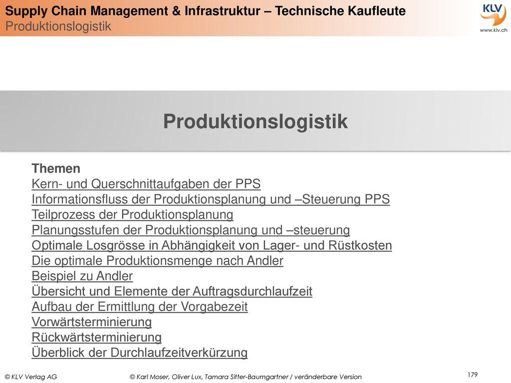 Produktionslogistik Themen Kern- und Querschnittaufgaben der PPS