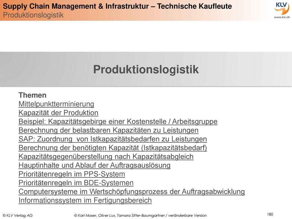 Produktionslogistik Themen Mittelpunktterminierung