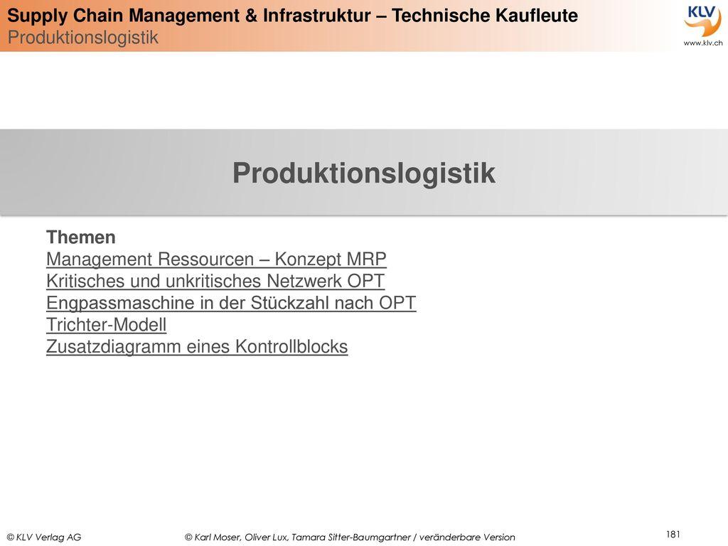 Produktionslogistik Themen Management Ressourcen – Konzept MRP