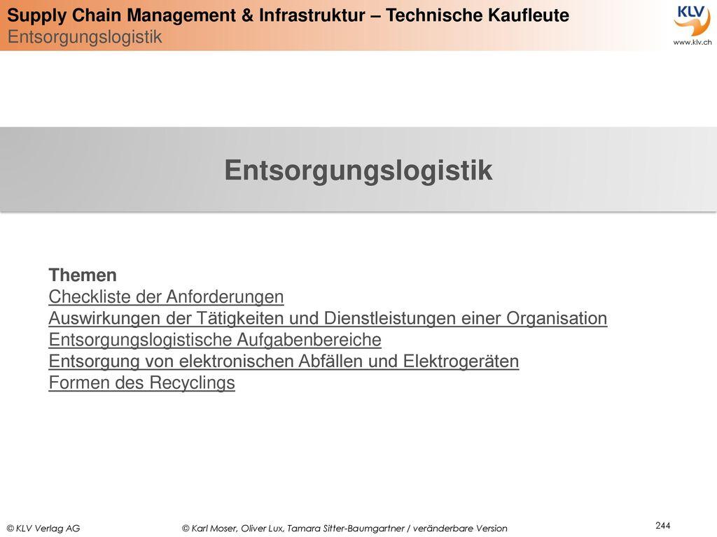 Entsorgungslogistik Themen Checkliste der Anforderungen