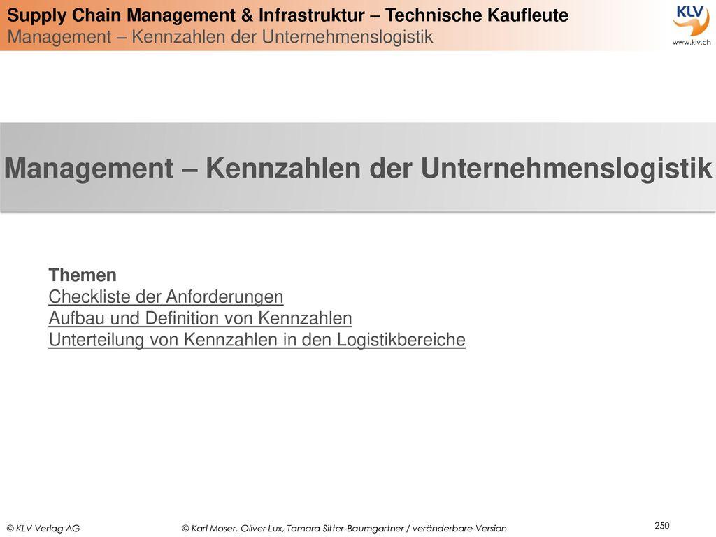 Management – Kennzahlen der Unternehmenslogistik