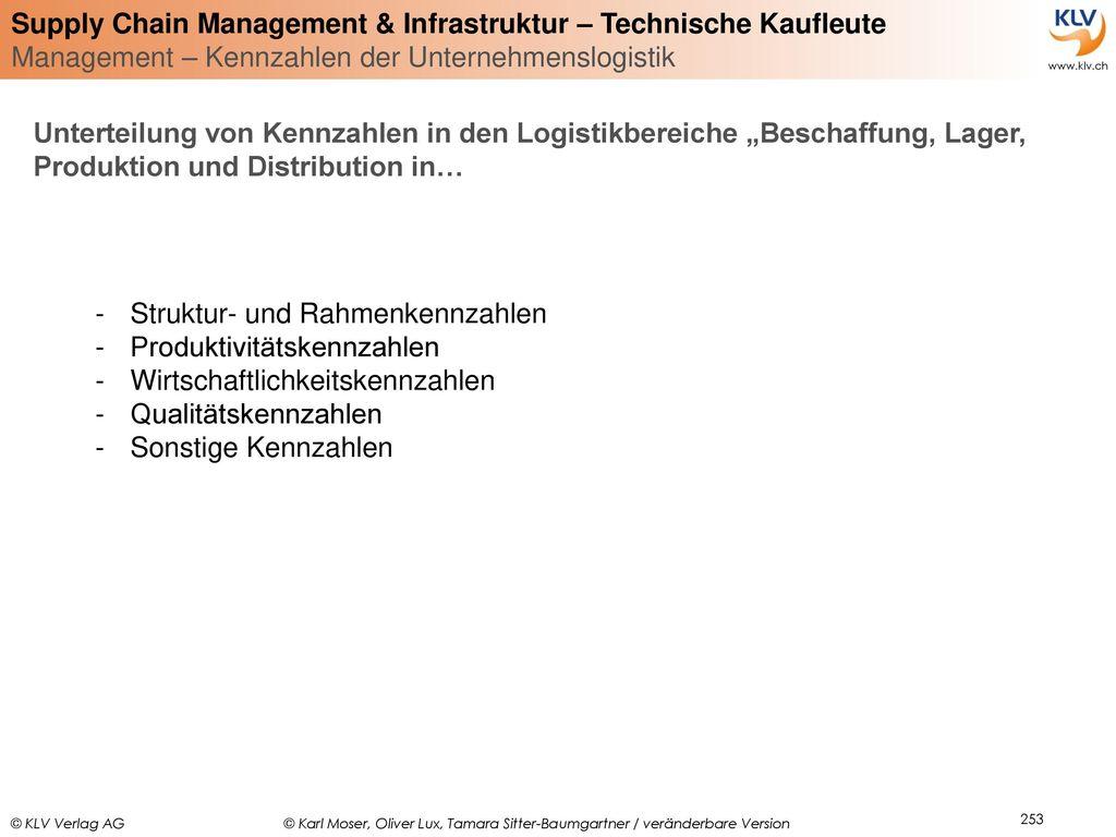 """Unterteilung von Kennzahlen in den Logistikbereiche """"Beschaffung, Lager, Produktion und Distribution in…"""