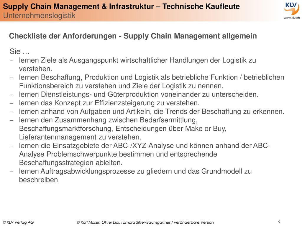 Checkliste der Anforderungen - Supply Chain Management allgemein