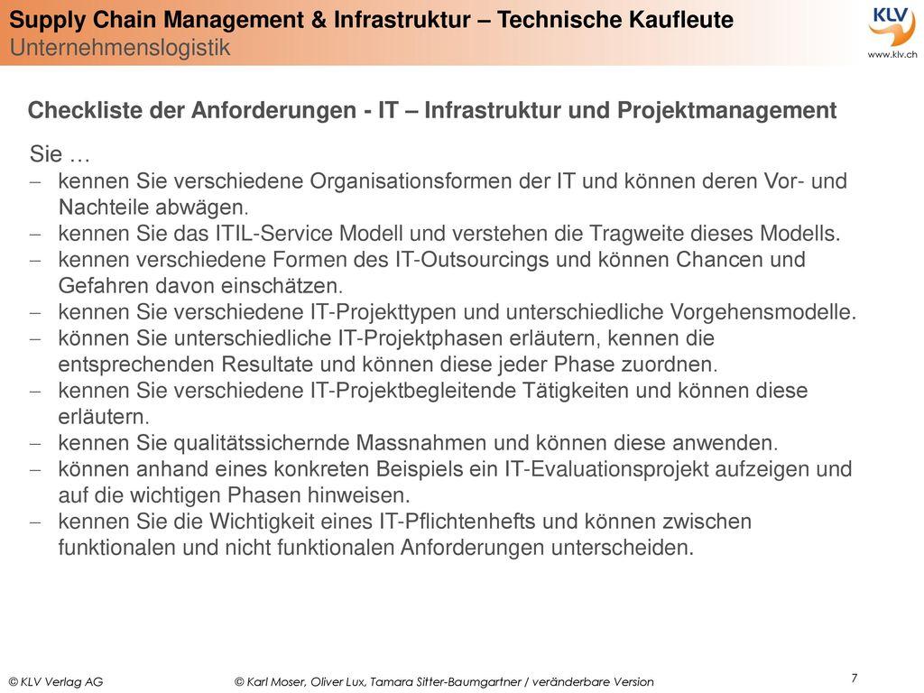 Checkliste der Anforderungen - IT – Infrastruktur und Projektmanagement
