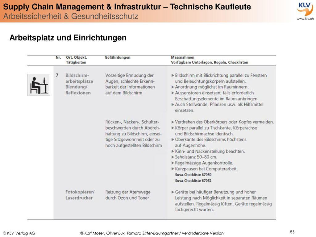 Arbeitsplatz und Einrichtungen