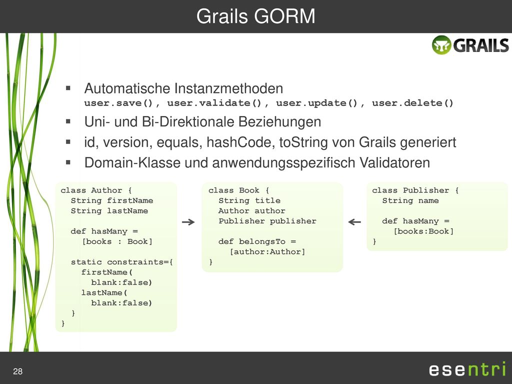 Grails GORM Automatische Instanzmethoden user.save(), user.validate(), user.update(), user.delete()