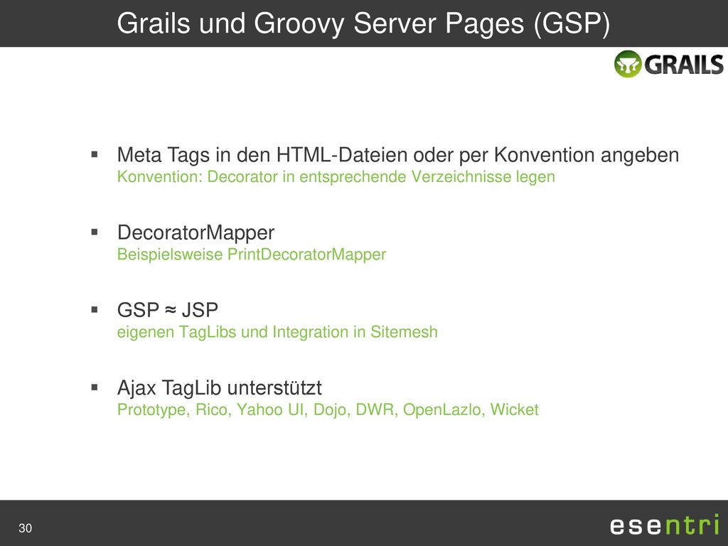 Grails und Groovy Server Pages (GSP)