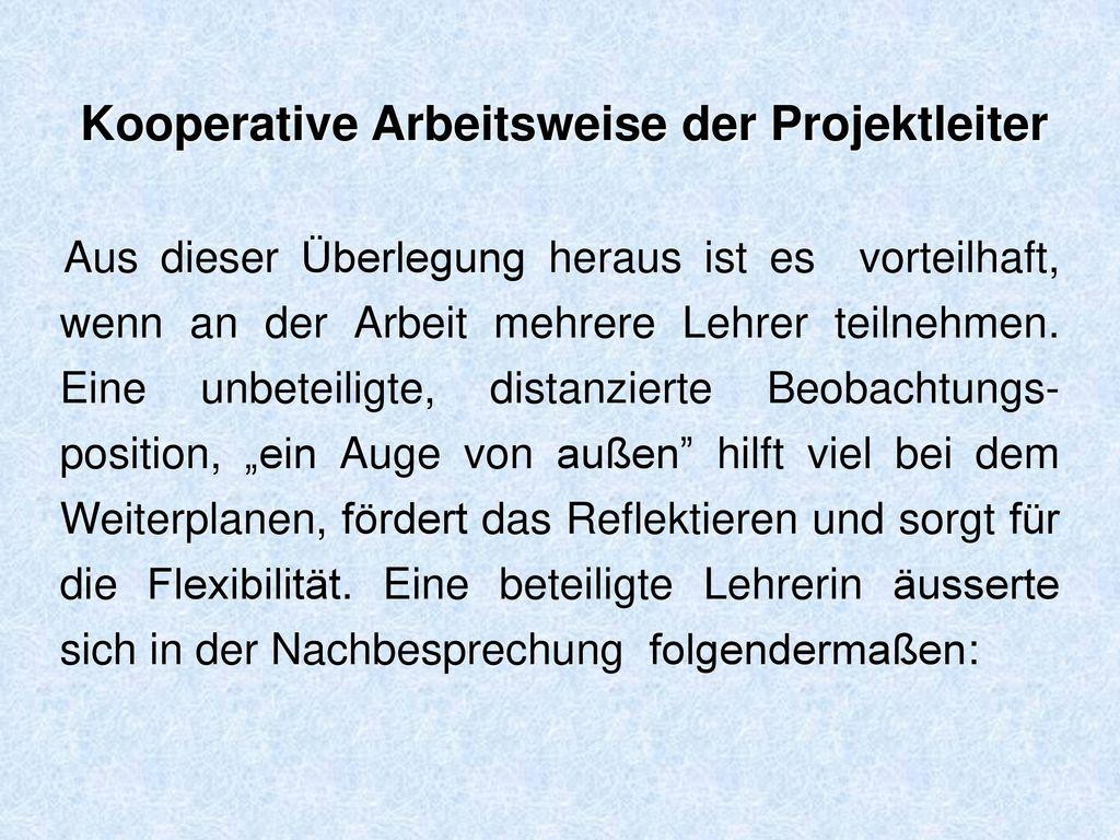 Kooperative Arbeitsweise der Projektleiter