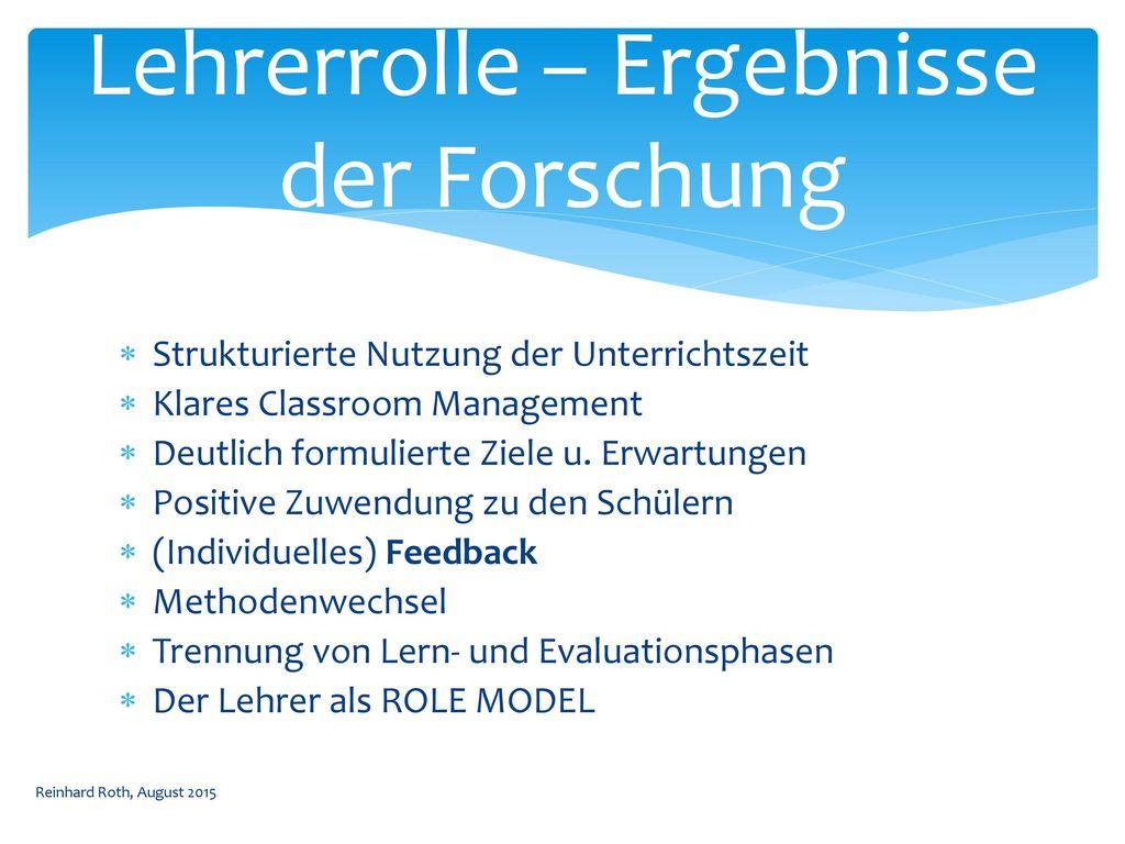 Lehrerrolle – Ergebnisse der Forschung
