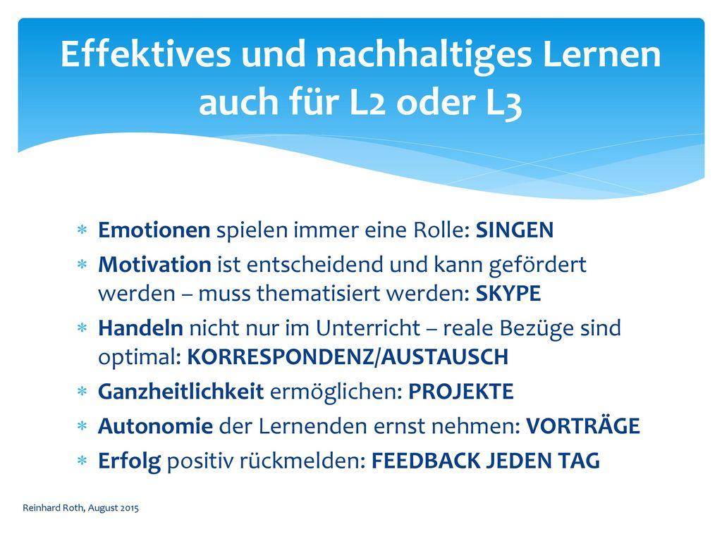 Effektives und nachhaltiges Lernen auch für L2 oder L3