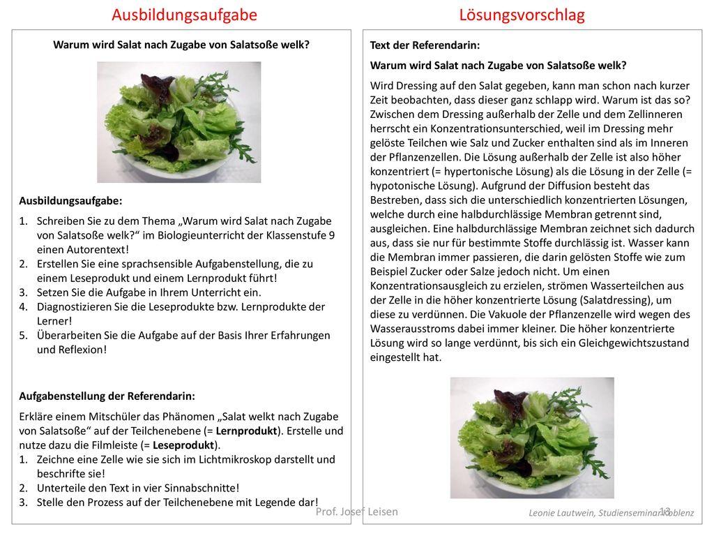 Warum wird Salat nach Zugabe von Salatsoße welk