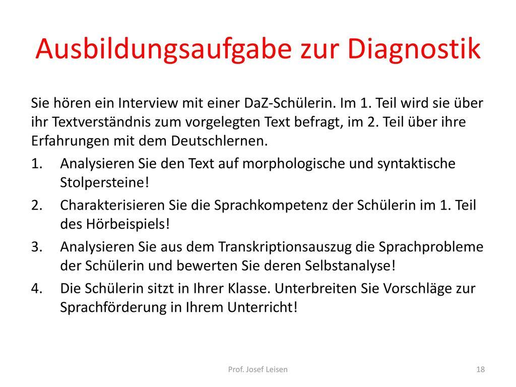 Ausbildungsaufgabe zur Diagnostik