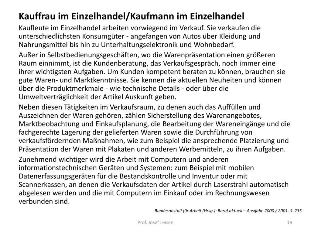 Kauffrau im Einzelhandel/Kaufmann im Einzelhandel
