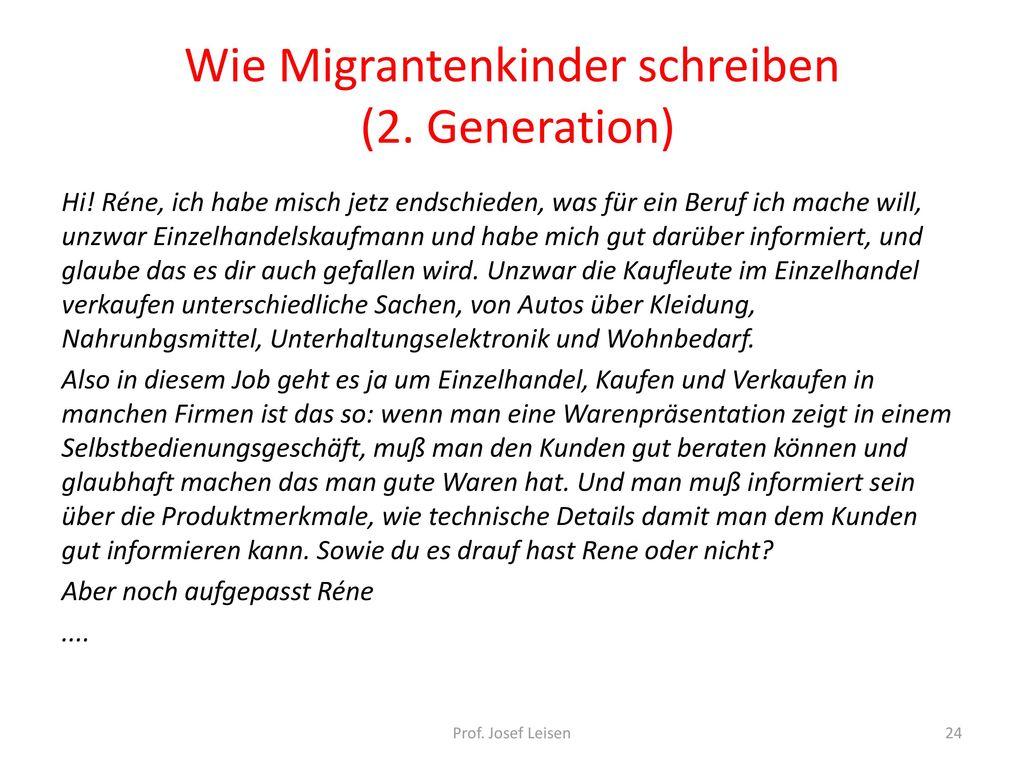 Wie Migrantenkinder schreiben (2. Generation)