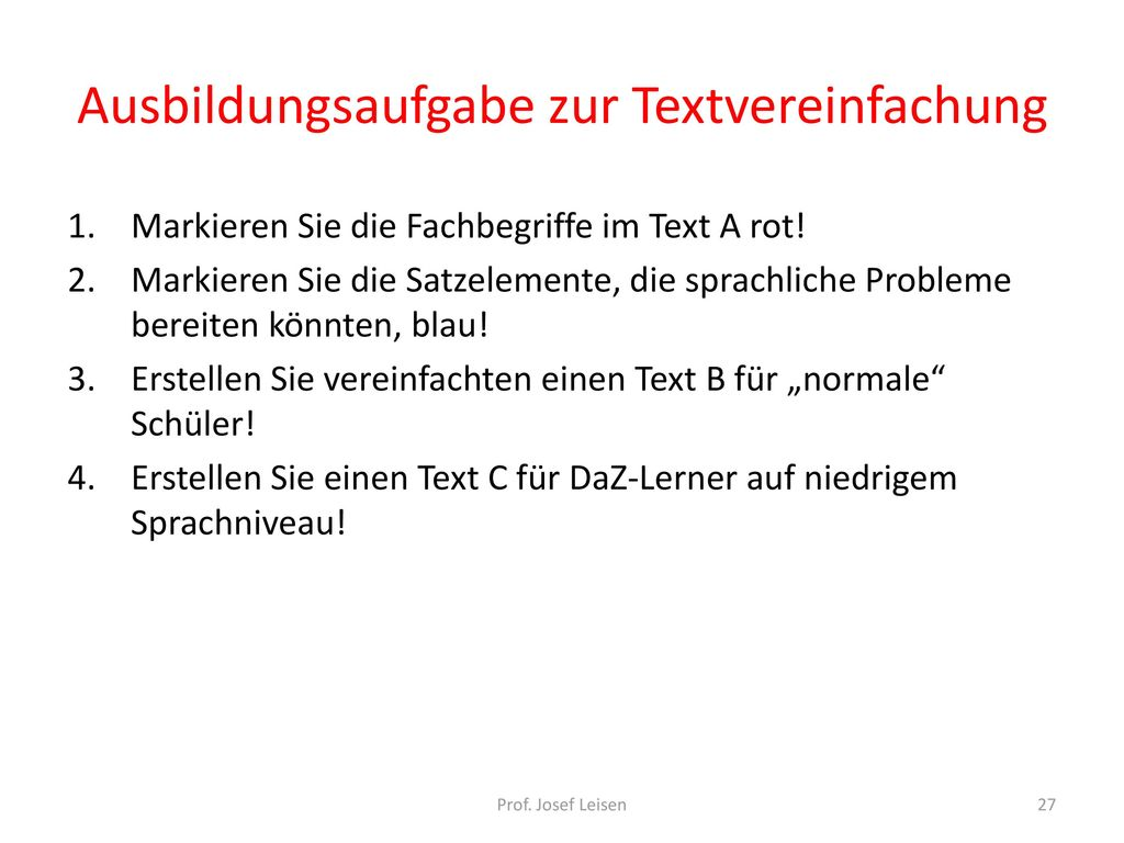 Ausbildungsaufgabe zur Textvereinfachung